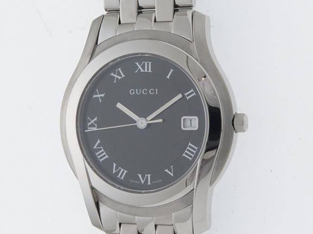 GUCCI 時計 グッチ 5500M ブラック文字盤 メンズ クオーツ ステンレス SS【430】【430】