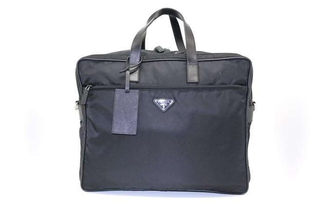 PRADA プラダ バッグ ブリーフケース ビジネスバッグ 2Wayショルダー V361S ナイロン サフィアーノ ブラック 【200】