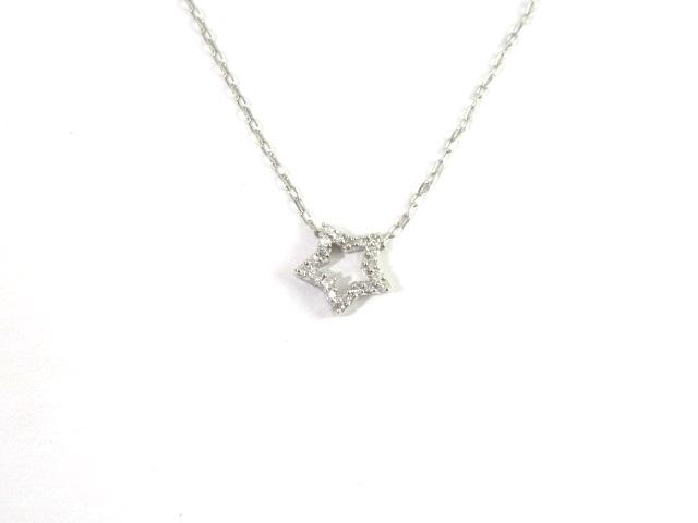 ノンブランド ジュエリー K18WG ホワイトゴールド ネックレス ダイヤモンド0.10ct 1.6g 【413】