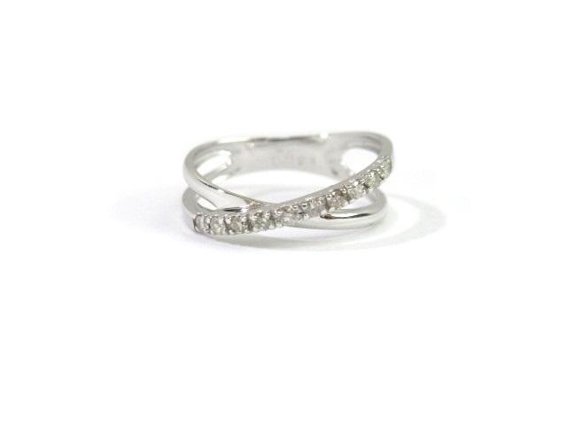 ノンブランド ジュエリー K18WG ホワイトゴールド リング ダイヤモンド0.10ct 1.3g 4号【413】