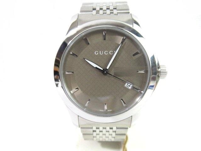 GUCCI グッチ 時計 Gタイムレス 126.4 SS ステンレススチール ブラウン クオーツ 電池【413】