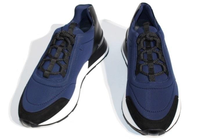 HERMES エルメス スニーカー バスター メンズ41ハーフ 約26.5cm ネイビー レザー 2020年 ¥129,800-【200】