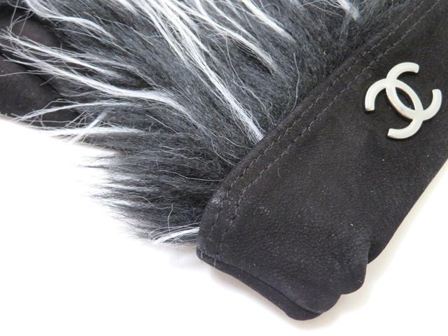 CHANEL シャネル ココマークグローブ ブラック グレー スウェード 手袋【472】HG image number 3