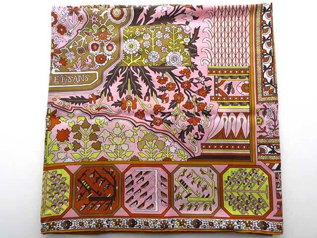 HERMES エルメス 小物 スカーフ カレ140 オレンジ/ピンク シルク【430】2120400055559