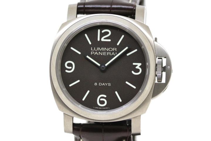 PANERAI パネライ ルミノール ベース  8days PAM00562 U番 メンズ チタニオ×革ベルト シースルーバック 手巻時計 【200】
