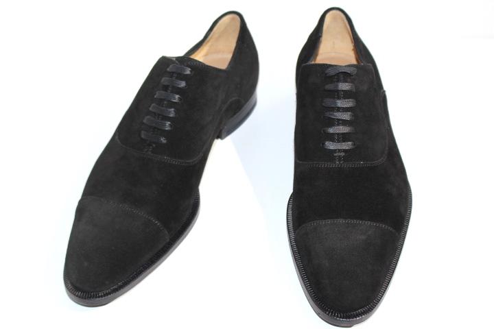 GUCCI グッチ 革靴 ビジネスシューズ ストレートチップ 182528 メンズ40ハーフ 約25.5cm ブラック スエード【200】