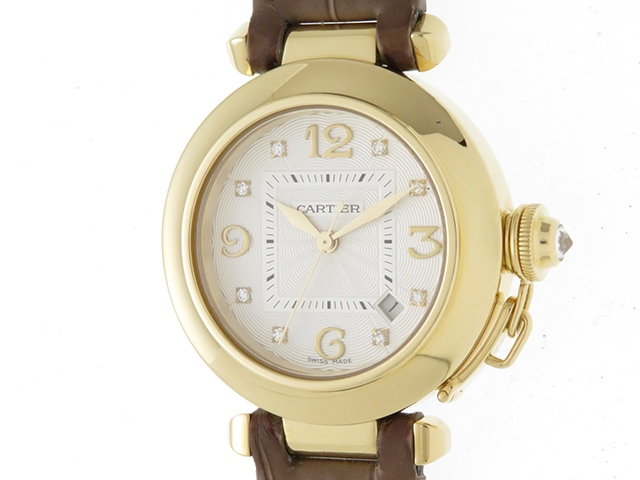 Cartier カルティエ 時計 パシャ32 WJ111056 アイボリー文字盤 レディース 自動巻き イエローゴールド 8ポイントダイヤモンド 革ベルト YG/8PD/革【430】2148103248238