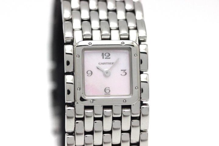 Cartier  カルティエ 時計  レディース クオーツ 電池式 W61003T9 リュバン ピンクシェル文字盤 ステンレス【472】HU