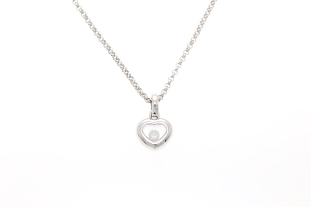 Chopard ショパール ハッピーダイヤモンド ハートネックレス 1Pダイヤモンド K18ホワイトゴールド 6.9g【473】