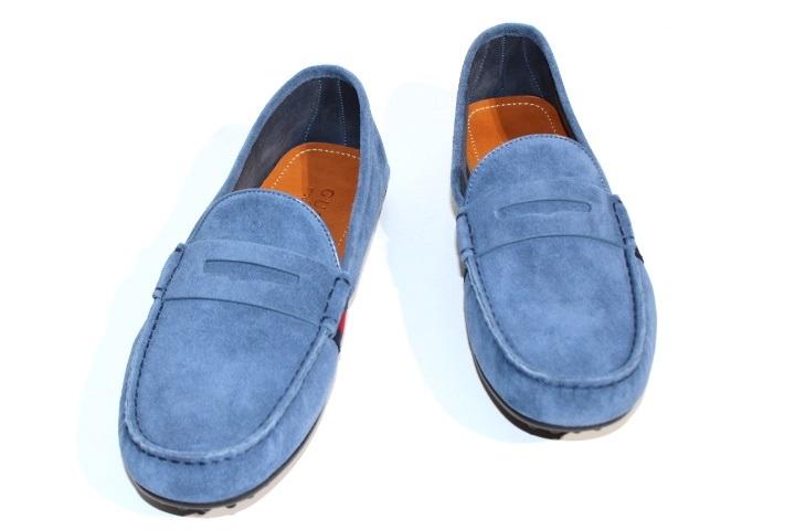 GUCCI グッチ 革靴 ドライピングシューズ メンズ7 約26cm ブルー スエード 【200】