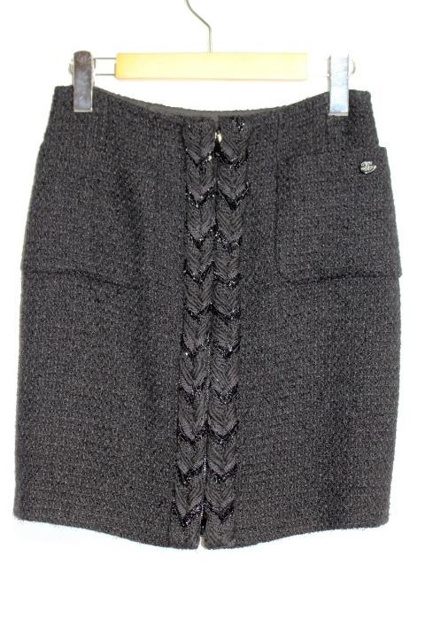 CHANEL シャネル スカート P64830V19676 レディース34 ブラック ウール 定価¥299,200- 【200】