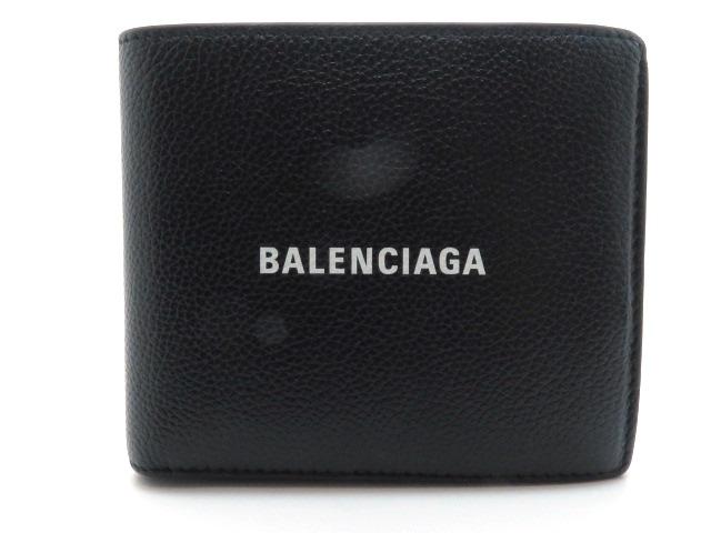 BALENCIAGA バレンシアガ 二つ折財布 594315 ブラック カーフ 【205】