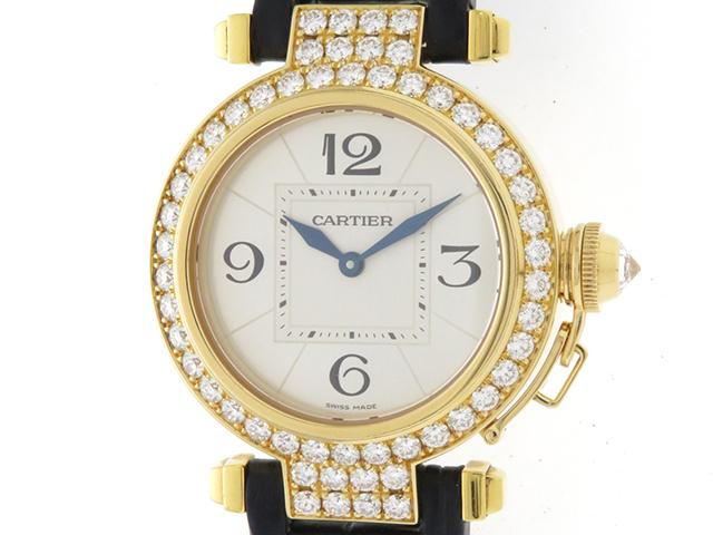 Cartier カルティエ 時計 パシャ32・ダイヤベゼル WJ11941G レディース イエローゴールド×革 クオーツ 2148103276514【430】