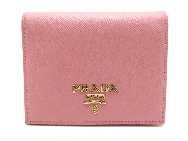 PRADA プラダ 二つ折り財布 ピンク サフィアーノ【410】2148103245046