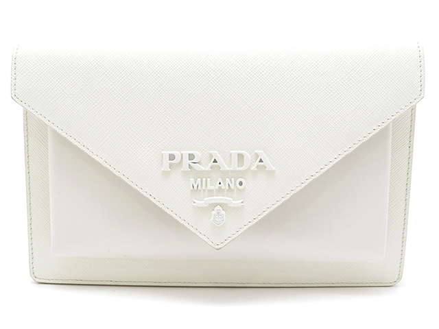 PRADA プラダ ショルダーバッグ ホワイト サフィアーノ 【430】 2143400133553