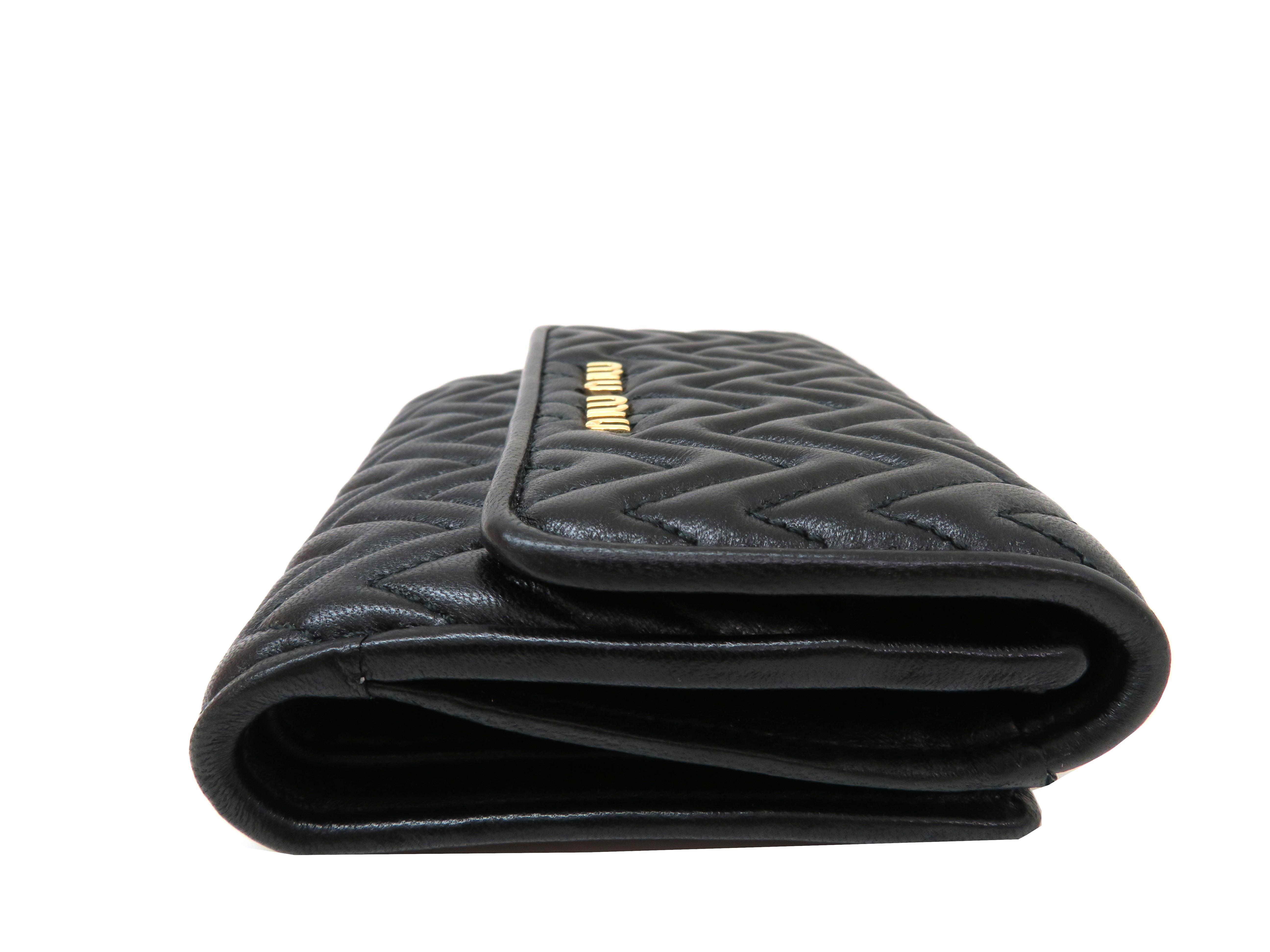 miumiu ミュウミュウ 財布 Wホックコンパクト財布 ブラック ラムスキン 5MH523 【204】 image number 2
