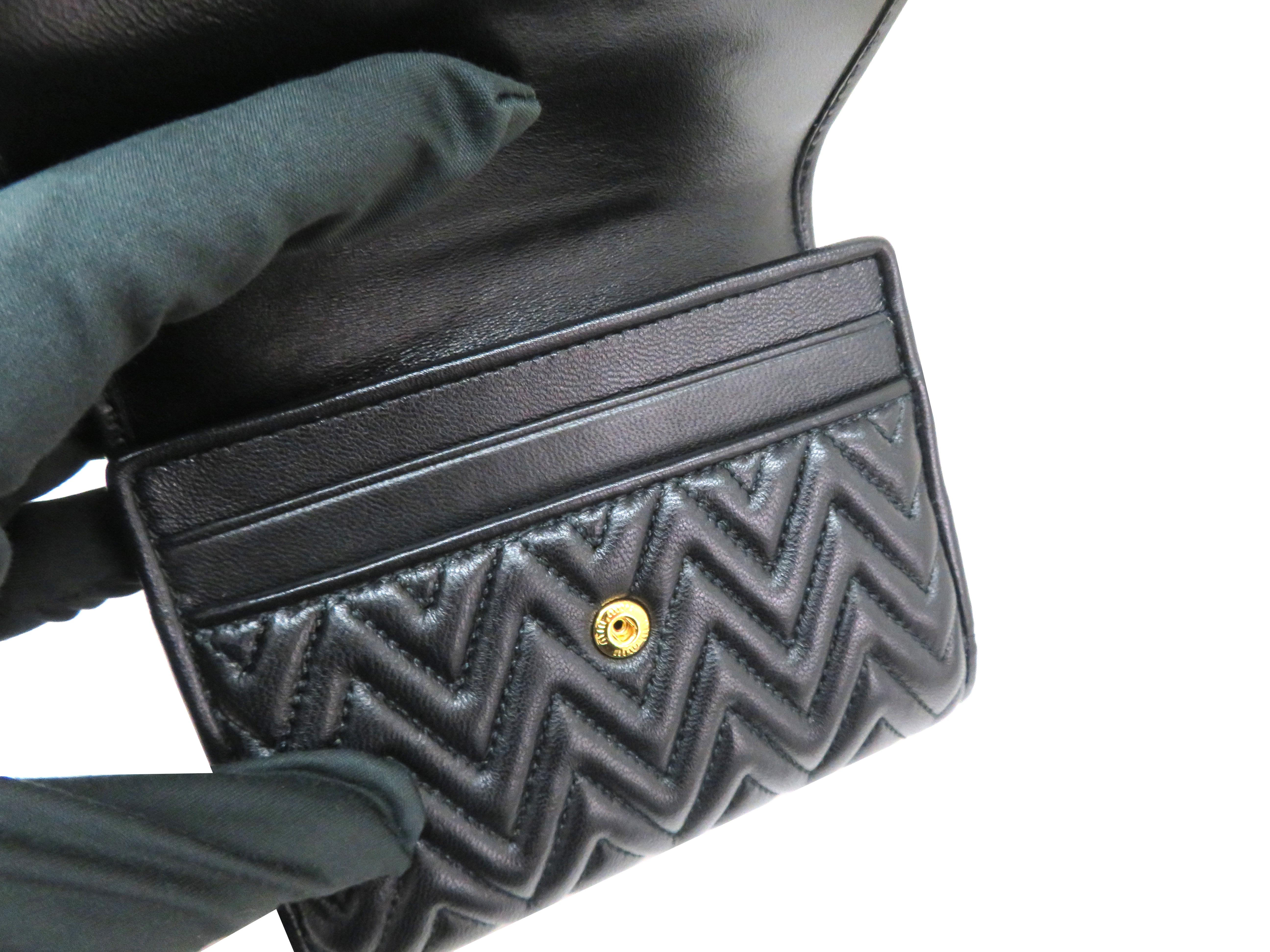 miumiu ミュウミュウ 財布 Wホックコンパクト財布 ブラック ラムスキン 5MH523 【204】 image number 4