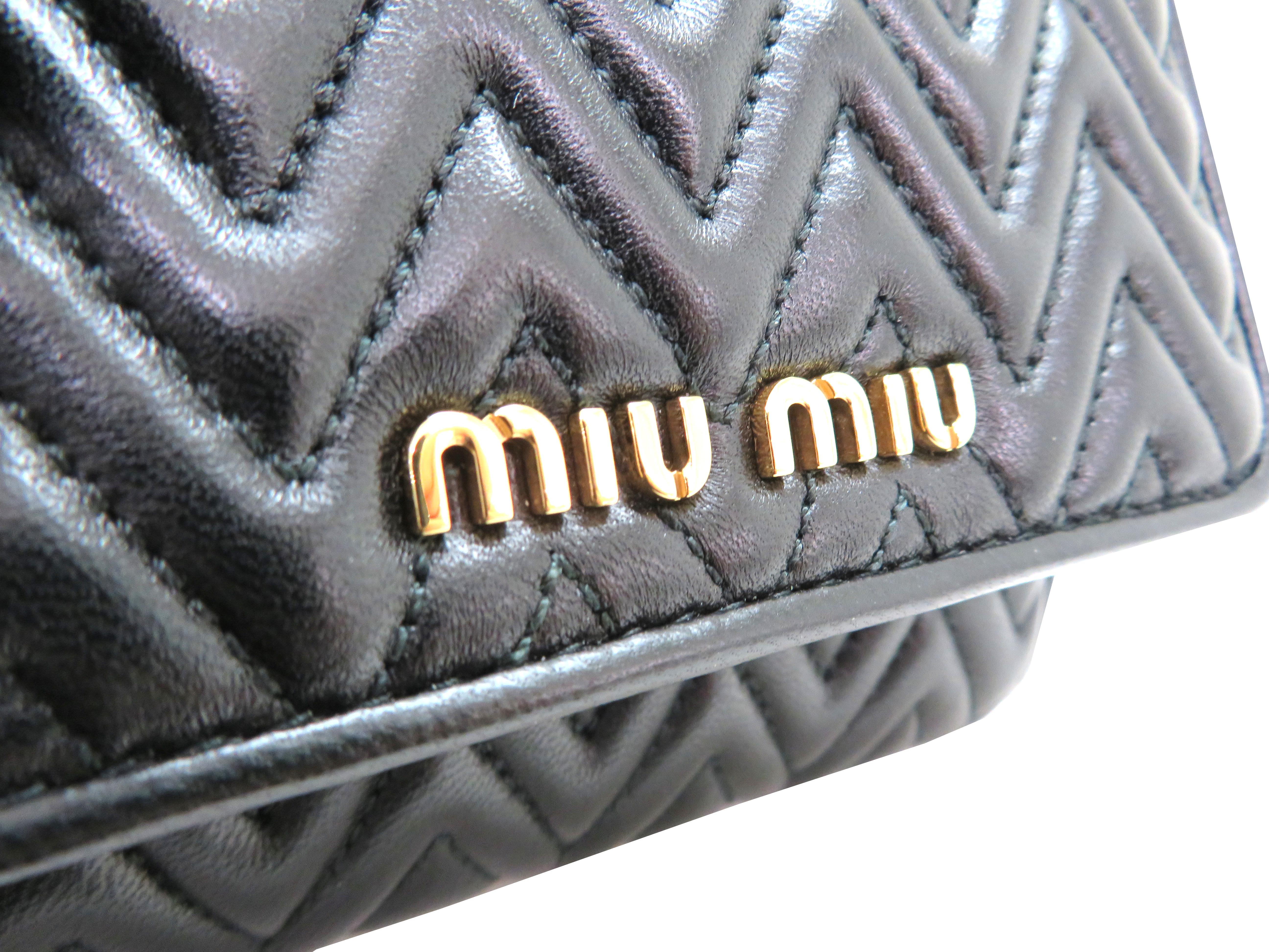 miumiu ミュウミュウ 財布 Wホックコンパクト財布 ブラック ラムスキン 5MH523 【204】 image number 3