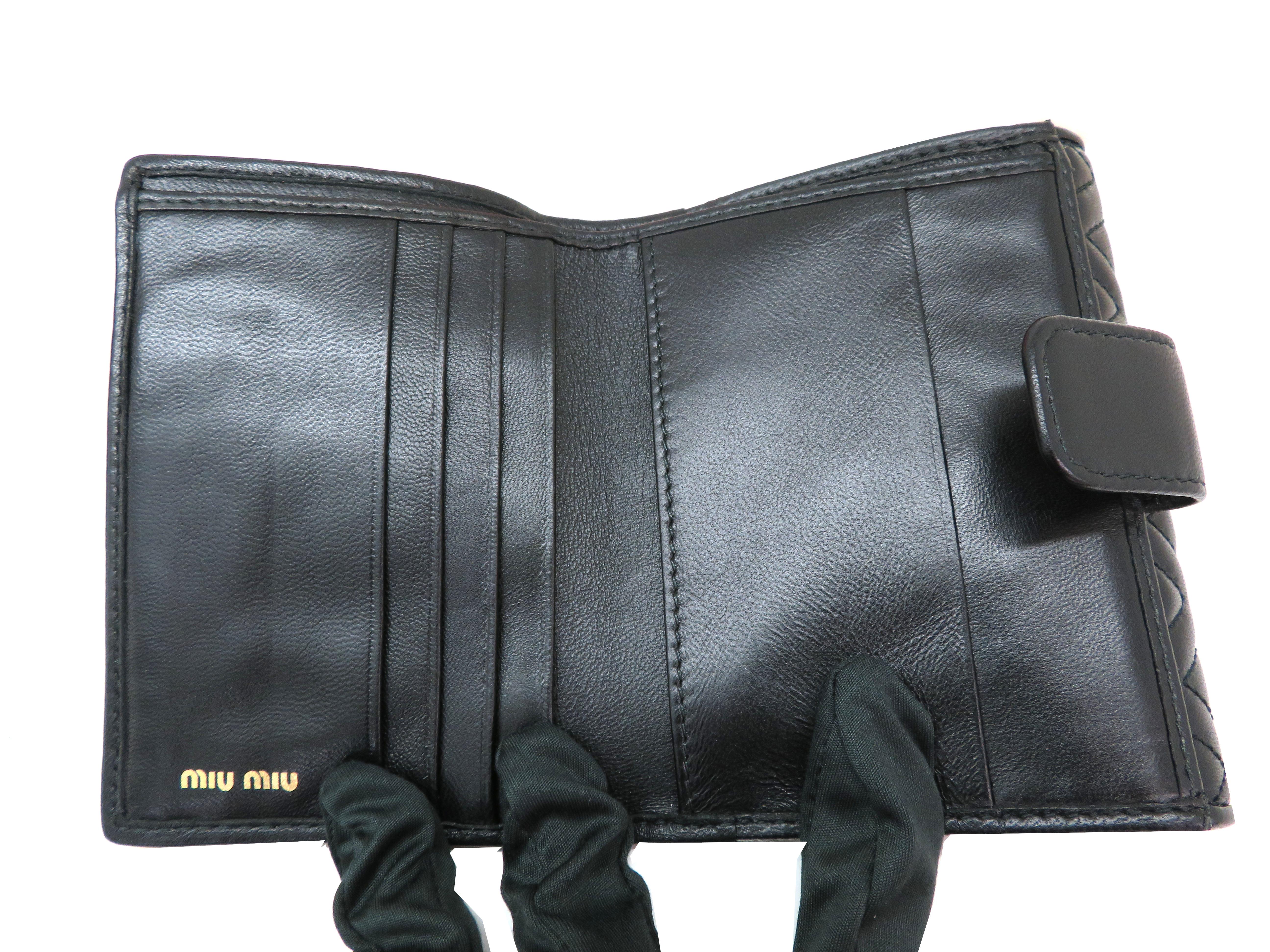 miumiu ミュウミュウ 財布 Wホックコンパクト財布 ブラック ラムスキン 5MH523 【204】 image number 5