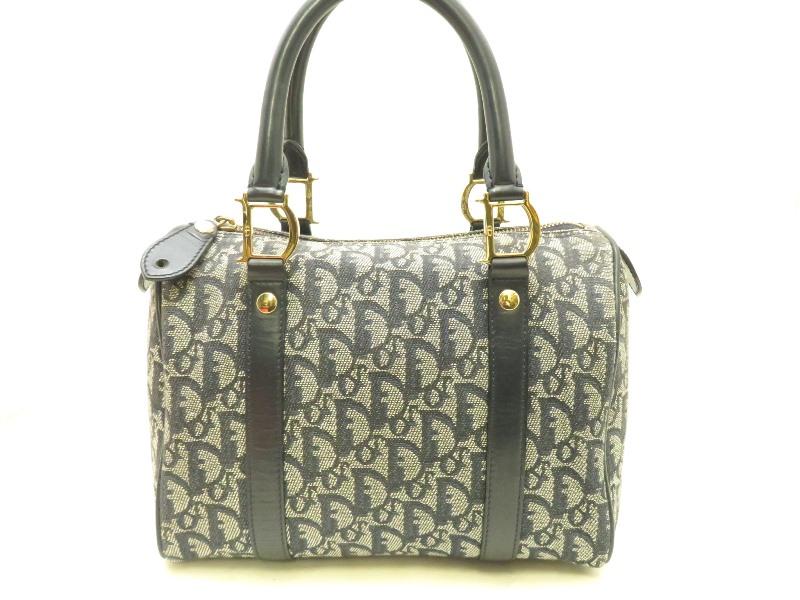 Dior ディオール トロッター ミニボストン バッグ ネイビー×グレー キャンバス ディオールロゴ バッグ【472】YI