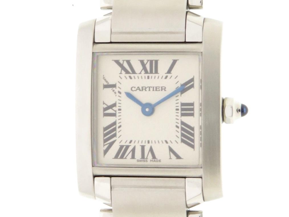 Cartier カルティエ タンクフランセーズ SM ステンレススチール ホワイト文字盤 クオーツ 【437】