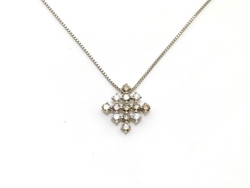 JEWELRY ノンブランドジュエリー ネックレス K18WG/ホワイトゴールド ブラウン系ダイヤモンド0.45カラット/ダイヤモンド0.17カラット 約3.0g【472】AH