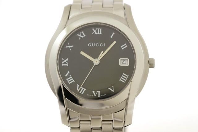 GUCCI グッチ 時計 5500M ブラック文字盤 ステンレススチール クオーツ (2148103074769)【200】