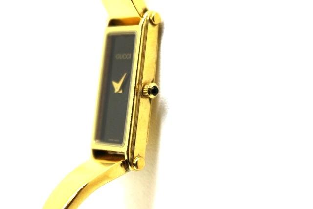 GUCCI グッチ 1500L ブラック文字盤 ゴールドプレート(金メッキ) クオーツ レディース (2148102915087)【200】 image number 2