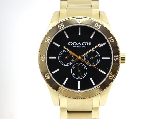 COACH コーチ 時計 デイデイト ウォッチ CA.133.2.95.1754 無回転ベゼル ブラック文字盤 GP SS ゴールドメッキ ステンレス クオーツ (2148103212772)【200】