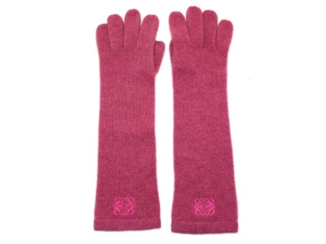 LOEWE ロエベ 手袋 ロング手袋 ピンク カシミヤ 【200】