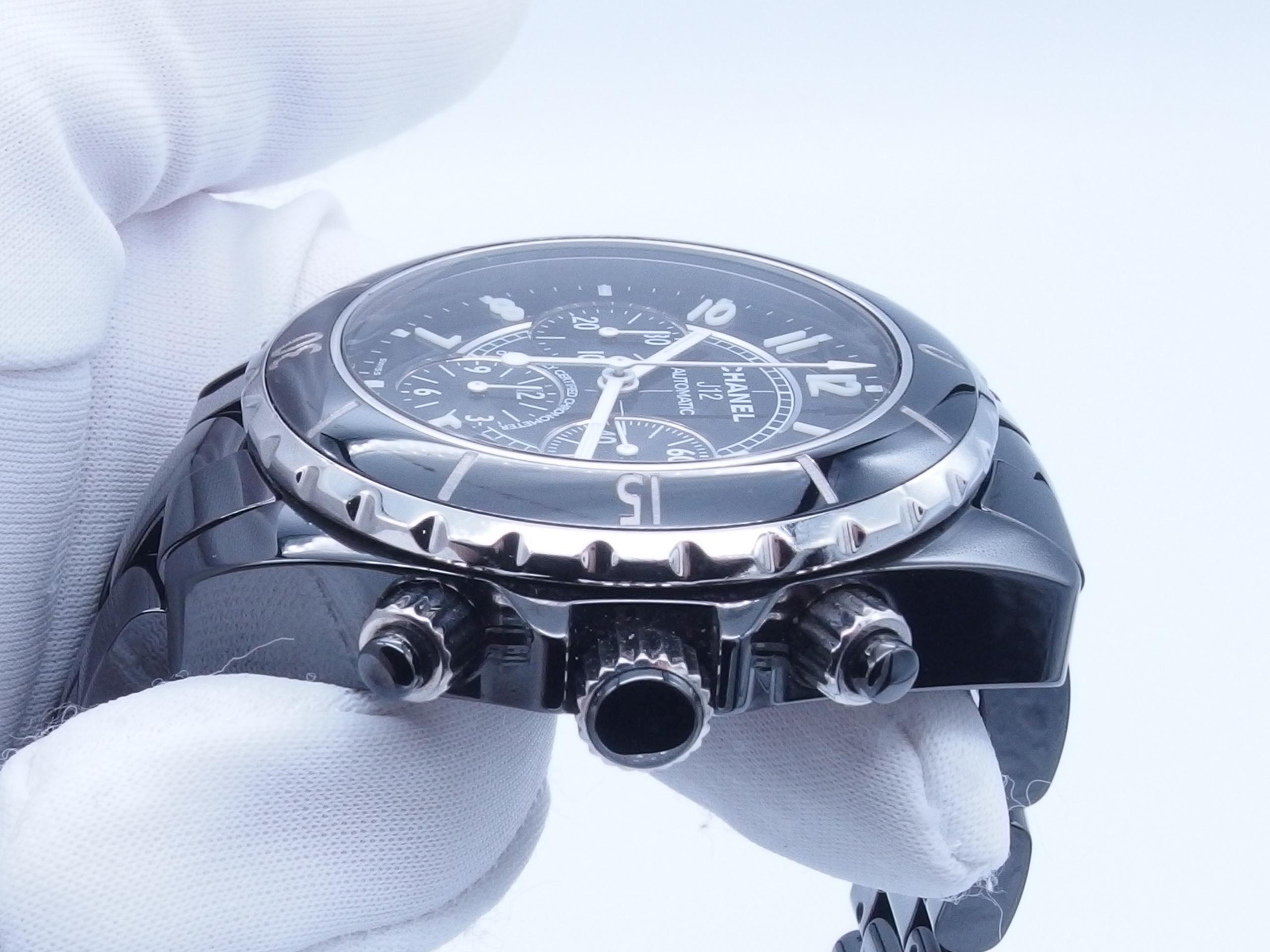 CHANEL シャネル J12 クロノ H0940 CE 自動巻き ブラック【432】 image number 8
