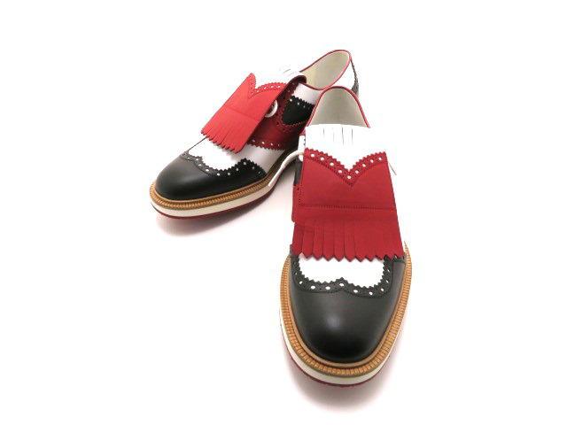GUCCI グッチ 革靴 ゴルフシューズ レザー ホワイト/ブラック/レッド メンズ10 【432】