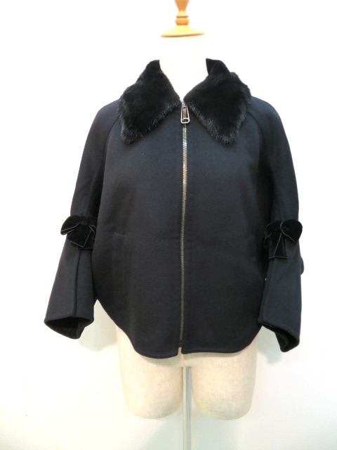 フェンディ ジャケット ブラック レディース40 ウール ミンク 【432】