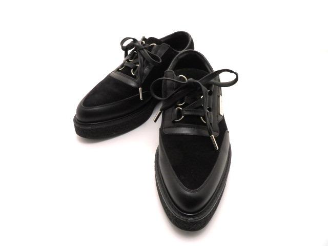 LOUIS VUITTON ルイ・ヴィトン 革靴 厚底 スエード/レザー ブラック メンズ6 【432】