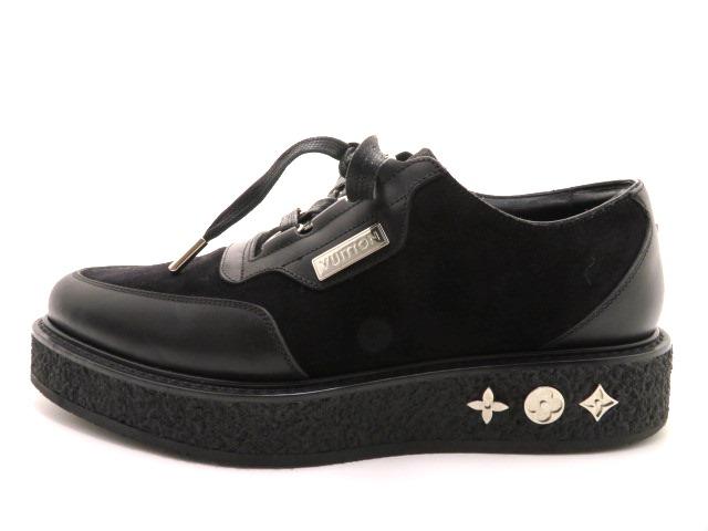 LOUIS VUITTON ルイ・ヴィトン 革靴 厚底 スエード/レザー ブラック メンズ6 【200】 image number 1