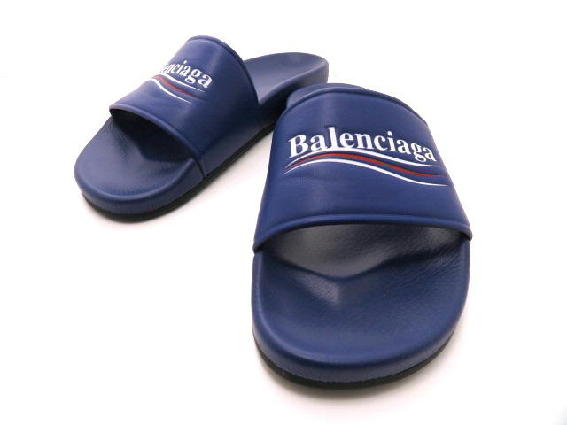 BALENCIAGA バレンシアガ サンダル カーフ ブルー メンズ43 【432】