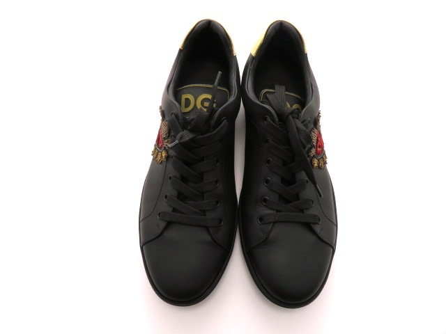 DOLCE&GABBANA ドルチェ&ガッパーナ スニーカー レザー ブラック メンズ9 【432】 image number 7